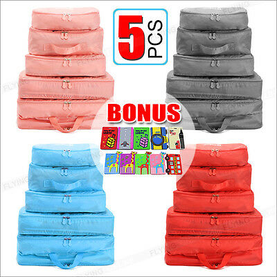 AU9.95 • Buy 5pcs Packing Cube Pouch Suitcase Clothes Storage Bags Travel Luggage Organizer
