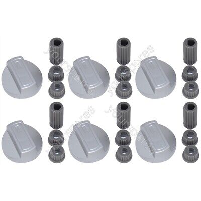 6 X New World Universal Cooker Oven Grill Hob Control Knob And Adaptors Silver • 7.95£