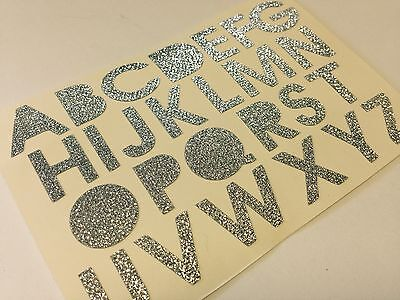 26 X 2 Alphabet Self Adhesive Stick On Glittery Silver Letters Cards 15 Mm • 3.99£
