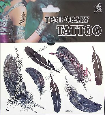 £1.99 • Buy   Feathers  Temporary Body Tattoo Sheets - Assorted Black