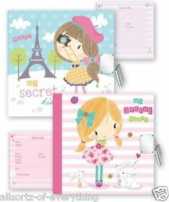 Girls Secret Lockable Notebook Diary With Padlock - Pink Or Blue • 3.95£