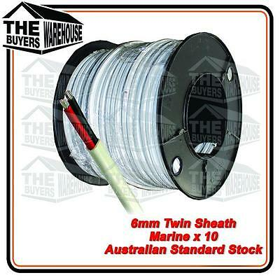 AU42 • Buy 10M X 6mm MARINE GRADE TINNED 2 CORE TWIN SHEATH  BOAT ELECTRICAL CABLE TYCAB