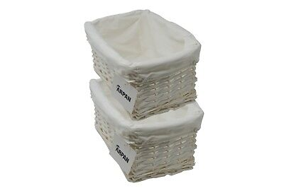 Storage Hamper Basket Small White Cloth Wicker Lining Pack Of 2 By Arpan • 13.99£