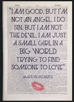 Vintage Marilyn Monroe Quote Wall Art Print Picture 1933 Dictionary Page Love • 4£