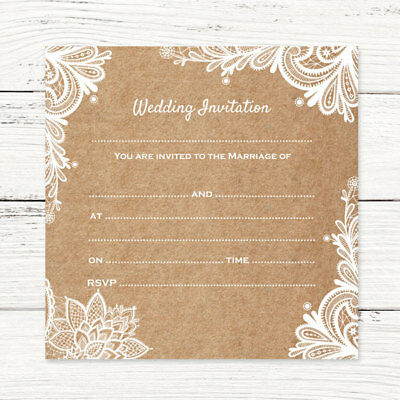 Wedding Postcard Invitations - Rustic Lace Pattern - Pack Of 10 • 4.50£