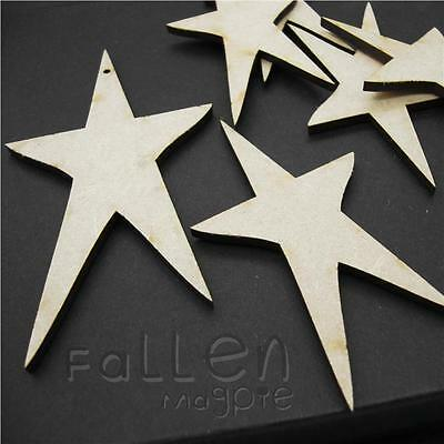 Wooden Long Star Shapes Embellishments Craft Wood MDF Hole Tags Blanks  • 0.99£
