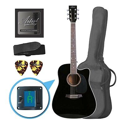 AU169 • Buy Artist LSPCBK Beginner Acoustic Guitar Pack With Cutaway - Black - New