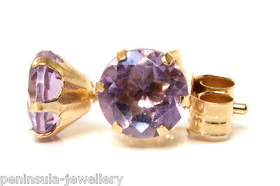 9ct Gold Amethyst Studs 5mm Earrings Gift Boxed Made In UK • 24.99£