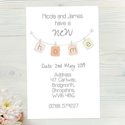 10 X Personalised Address Cards, New Home Bunting - Pastel Houses With Envelopes • 3£