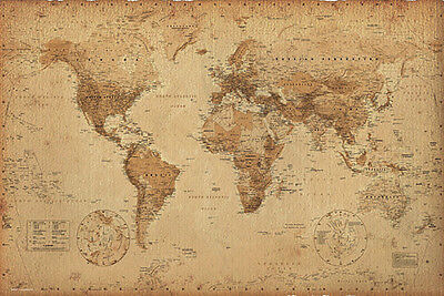View Details WORLD MAP - ANTIQUE STYLE POSTER - 24x36 GEOGRAPHY VINTAGE 33313 • 6.00$