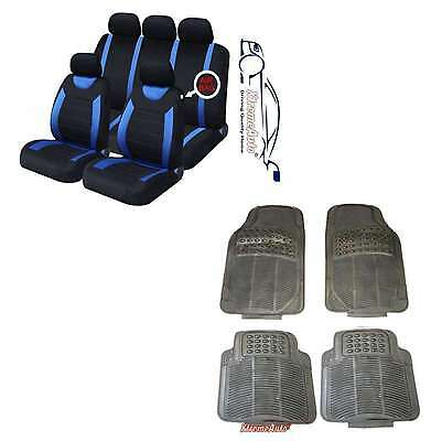 CARNABY BLUE CAR SEAT COVERS + RUBBER FLOOR MATS Dacia Logan, Sandero, Duster • 28.99£