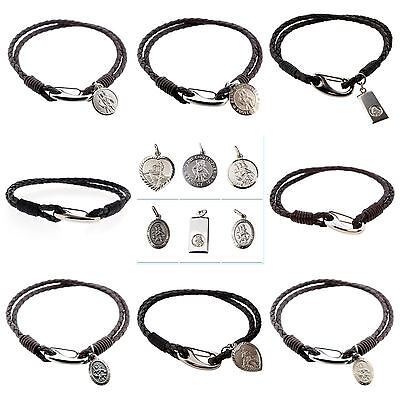 Sterling Silver St Christopher -Mens Leather Bracelet -FREE ENGRAVING & GIFT BAG • 36.49£