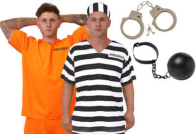 Mens Prisoner Costume Orange Top Trousers Convict Halloween Fancy Dress S-xxl • 9.99£