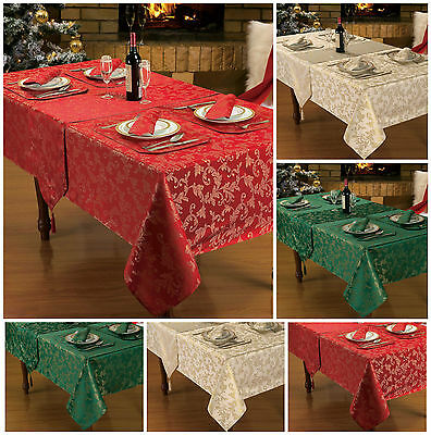 Christmas Table Linen / Decoration Red Gold Glitter Table Cloth / Sparkle Linen • 5.25£