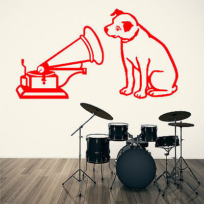 HMV HIS MASTERS VOICE NIPPER MUSIC LOGO  Vinyl Wall Art Sticker Decal • 14.99£