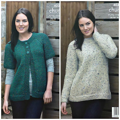 KNITTING PATTERN Ladies Very EASY KNIT Jacket & Jumper Chunky King Cole 4038 • 3.95£