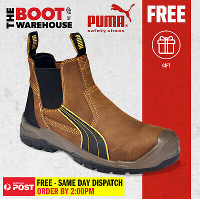 AU145.95 • Buy Puma Work Boots 630267 Tanami Brown, Composite Safety, Elastic Sided, Metal Free