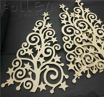 £1.90 • Buy Wooden Tall Christmas Tree Shapes Family Decorations MDF Wood Decopage Craft