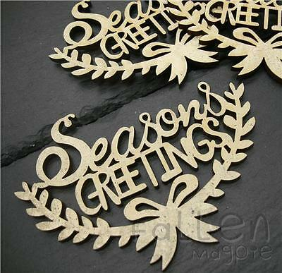 Wooden Christmas Greetings Wreath Shapes Decoration Craft Wood MDF Blanks   • 1.80£