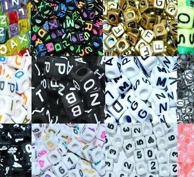 100 Pcs Acrylic Number OR Letter Beads, Cube, 6, 7, And 8 Mm With Colour Options • 1.99£