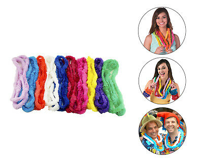 Hawaiian Plastic Ruffle Leis Luau Beach Party Decoration Favor Necklace Bulk LOT • 12.18£