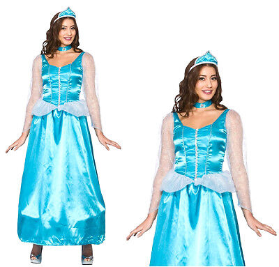 NEW Ladies ICE BLUE PRINCESS Elsa Anna Cinderella Fancy Dress Costume UK 6-24 • 8.98£