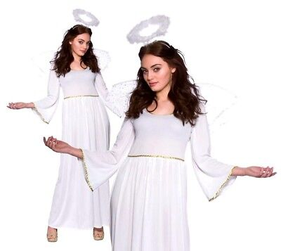 £17.95 • Buy Ladies CHRISTMAS ANGEL With Wings & Halo Nativity Play Adult Fancy Dress Costume