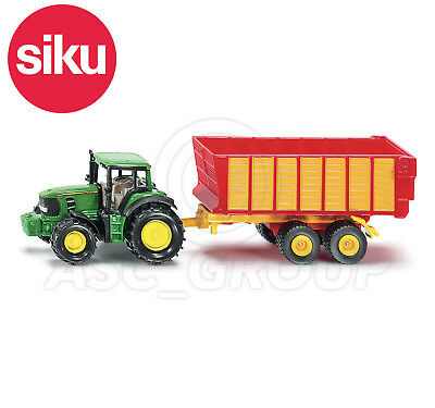 SIKU NO.1650 1:87 Scale JOHN DEERE TRACTOR WITH SILAGE TRAILER Dicast Model Toy • 11.72£