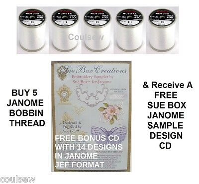 JANOME SEWING MACHINE BOBBIN THREAD X5 - 1000m WHITE Embroidery + FREE SUE BOX • 45£
