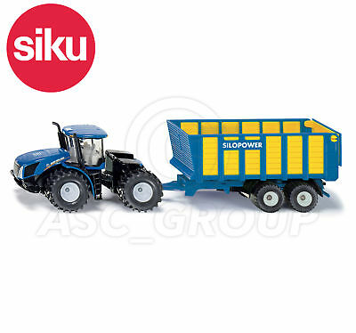 SIKU NO.1947 1:50 Scale NEW HOLLAND TRACTOR WITH SILAGE TRAILER Dicast Model Toy • 25.99£