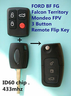 AU17.99 • Buy FORD BF FG Falcon Territory Mondeo FPV 3 Button Transponder Remote Flip Key