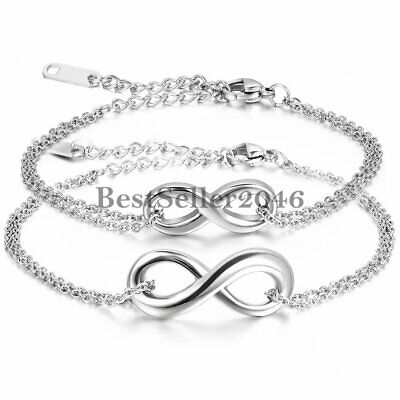 $6.99 • Buy Men Women Infinity Love Symbol Stainless Steel Chain Anklet Bracelet Jewelry
