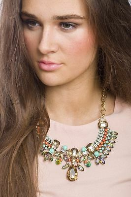 £7.95 • Buy Statement Necklace Tribal Inspired Gem Necklace Pendant Fashion Style Jewelry