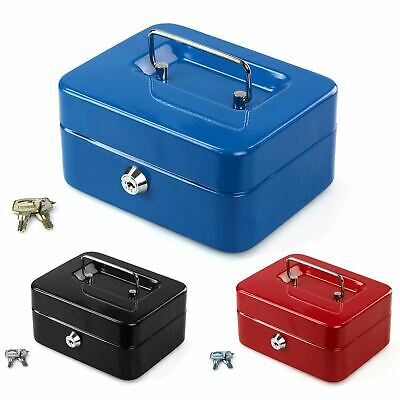 Petty Cash Safety Deposit Box Metal Security Steel Money Bank Coin Tray Holder   • 7.99£