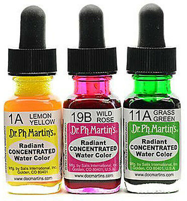 £8.99 • Buy Dr Ph Martin's Radiant Concentrated Watercolours Inks - Individual 1/2oz Bottles