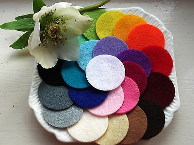 24 X Die Cut Felt Circles For Crafts   Choice Of Sizes & Colours Wool Blend Felt • 1.35£