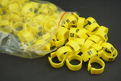 £7.99 • Buy Yellow 14MM Dia 001-100 Numbered Chicken Leg Bands Duck Chicken Goose Rings
