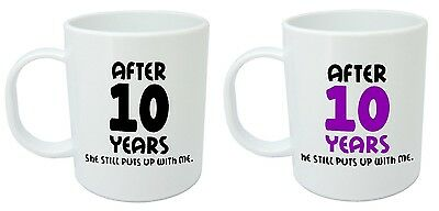 After 10 Years Him & Her Mugs, 10th Wedding Anniversary Gifts For Husband & Wife • 7.99£