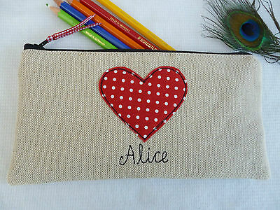 £14.99 • Buy Handmade Personalised Heart Pencil Case, Choice Of Wording Red Polka Dot & Linen