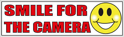 AU4.50 • Buy Smile For The Camera. Funny Car DASH CAM Bumper Sticker Decal 200mm  SECURITY