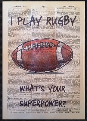 £5 • Buy VINTAGE RUGBY QUOTE PRINT 1933 Dictionary Page Wall Art Picture Gift Sport