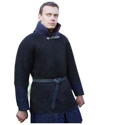 £73.99 • Buy Butted Chain Mail Shirt Black Large Medieval Chainmail Hauberk Armor Larp SCA