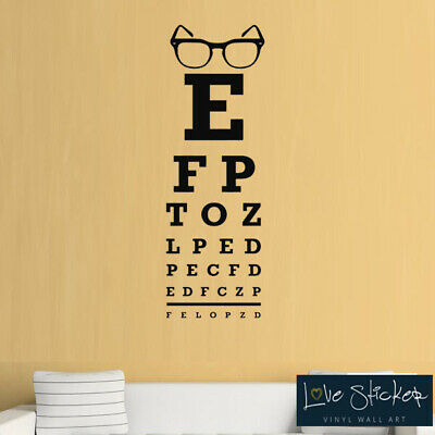 Wall Stickers Eye Chart Glasses Opticians Cool Geek Art Decals Vinyl Home Room • 12.99£