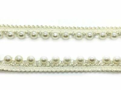 Ivory Lace Pearl Beaded Vintage Style Trim Ribbon Sewing Wedding Bridal Dress • 3.59£
