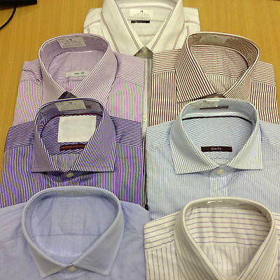 Ex M&S PURE COTTON French Cuff Mens Shirt Long Sleeve Stripe Check Luxury Smart • 9.99£