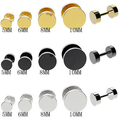 $7.39 • Buy 316L Stainless Steel Fake Cheater Screw Mens Ear Plug Earring Stud Stretcher US