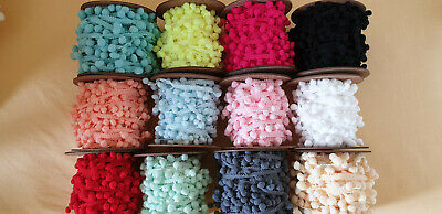 Mini Baby Small Pom Pom Trim, 10mm Fringe, Bobble Ribbon, Craft, Sewing, Cushion • 0.99£
