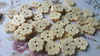 Natural Flower Wooden Buttons, Floral Shape, Sewing, Haberdashery, Cardmaking • 1.99£
