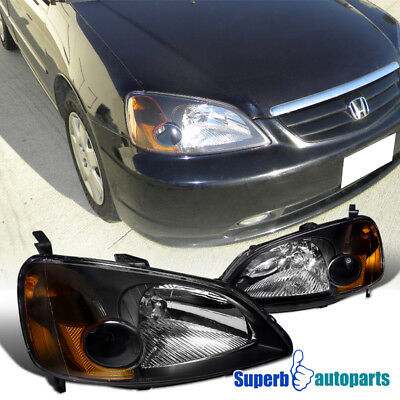 $65.53 • Buy For 2001-2003 01-03 Honda Civic Coupe Sedan Black Headlights Amber Corner Lamps