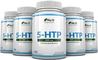 AU94.44 • Buy 5HTP 200mg 5 Bottles 900 Tablets UK Manufactured 100% Money Back Guarantee Nu U